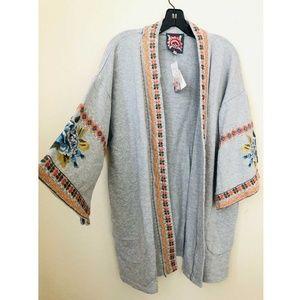 Johnny Was JWLA Hira Kimono Gray 100% Cotton Sz XL